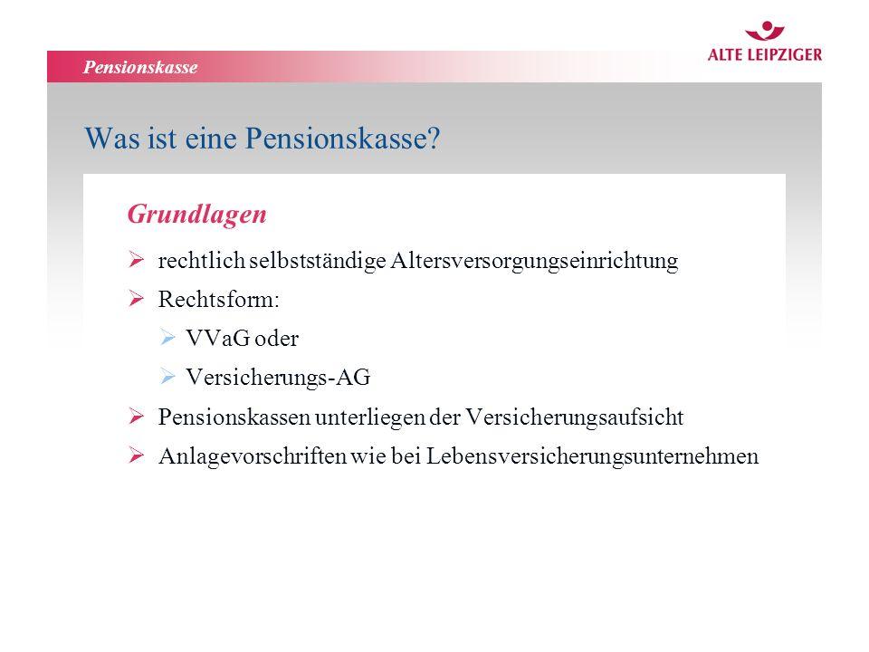 Pensionskasse Was ist eine Pensionskasse? rechtlich selbstständige Altersversorgungseinrichtung Rechtsform: VVaG oder Versicherungs-AG Pensionskassen
