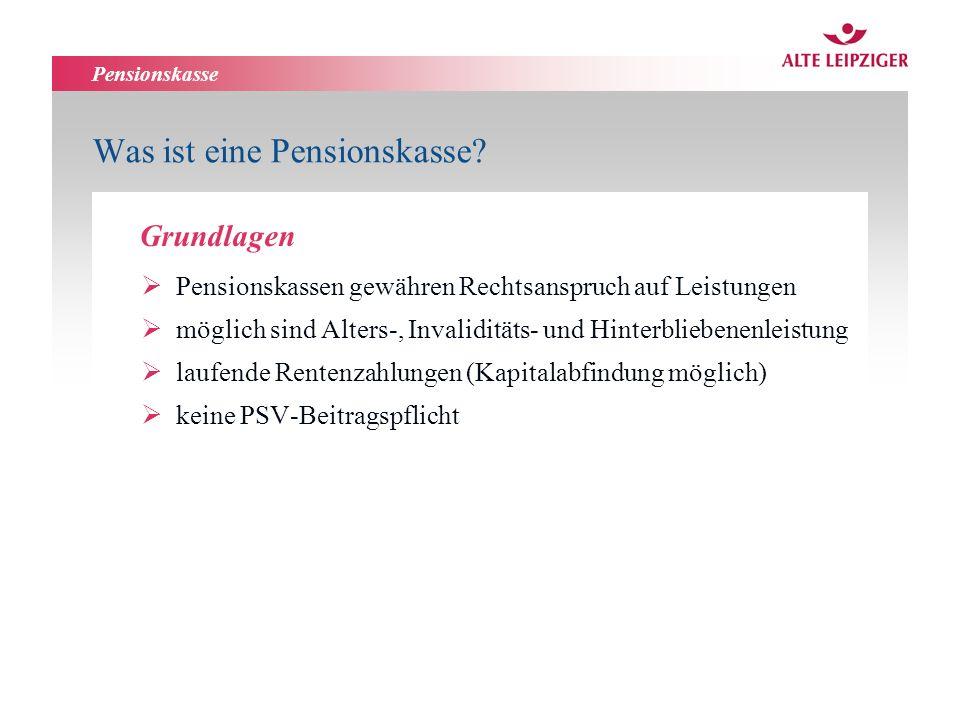 Pensionskasse Was ist eine Pensionskasse? Pensionskassen gewähren Rechtsanspruch auf Leistungen möglich sind Alters-, Invaliditäts- und Hinterbliebene