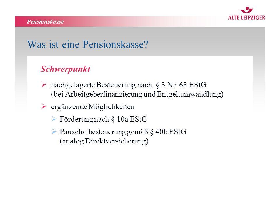 Pensionskasse Was ist eine Pensionskasse? nachgelagerte Besteuerung nach § 3 Nr. 63 EStG (bei Arbeitgeberfinanzierung und Entgeltumwandlung) ergänzend