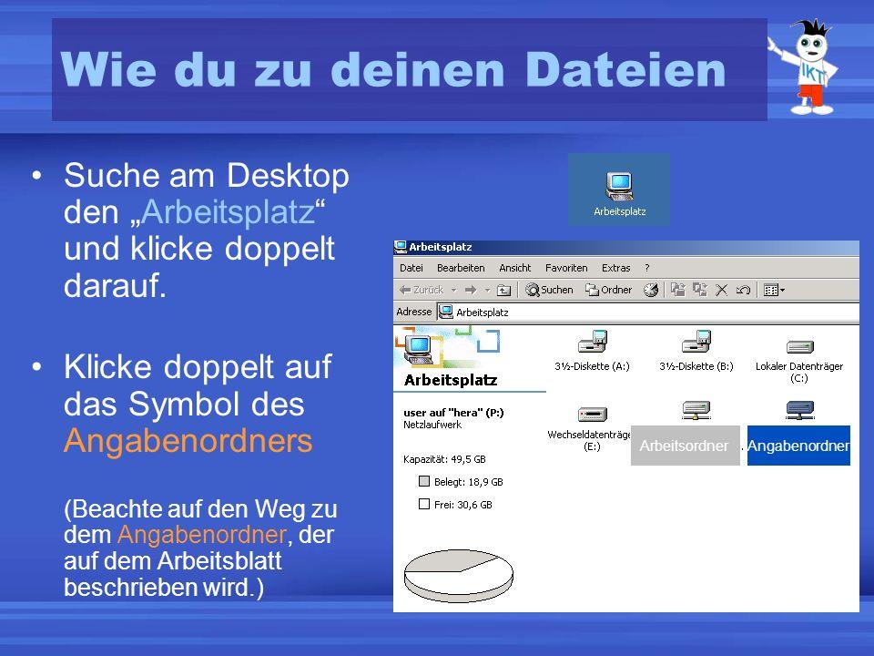 Wie du zu deinen Dateien Suche am Desktop den Arbeitsplatz und klicke doppelt darauf.