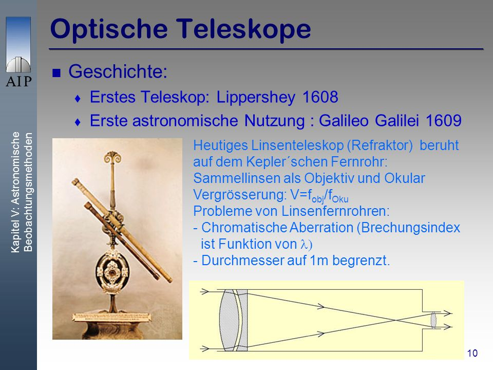 Kapitel V: Astronomische Beobachtungsmethoden 10 Optische Teleskope Geschichte: Erstes Teleskop: Lippershey 1608 Erste astronomische Nutzung : Galileo Galilei 1609 Heutiges Linsenteleskop (Refraktor) beruht auf dem Kepler´schen Fernrohr: Sammellinsen als Objektiv und Okular Vergrösserung: V=f obj /f Oku Probleme von Linsenfernrohren: - Chromatische Aberration (Brechungsindex ist Funktion von - Durchmesser auf 1m begrenzt.