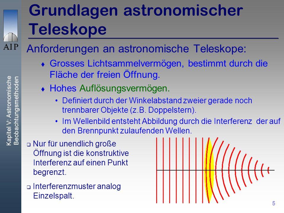Kapitel V: Astronomische Beobachtungsmethoden 5 Grundlagen astronomischer Teleskope Anforderungen an astronomische Teleskope: Grosses Lichtsammelvermögen, bestimmt durch die Fläche der freien Öffnung.