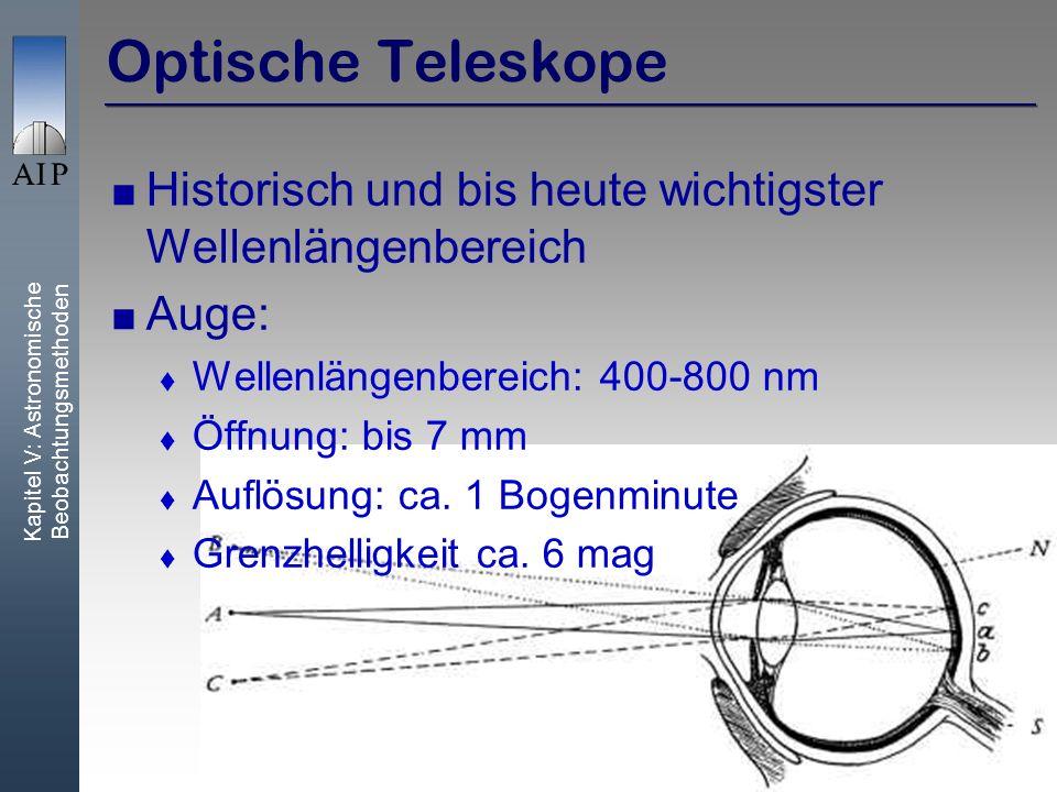 Kapitel V: Astronomische Beobachtungsmethoden 9 Optische Teleskope Historisch und bis heute wichtigster Wellenlängenbereich Auge: Wellenlängenbereich: 400-800 nm Öffnung: bis 7 mm Auflösung: ca.