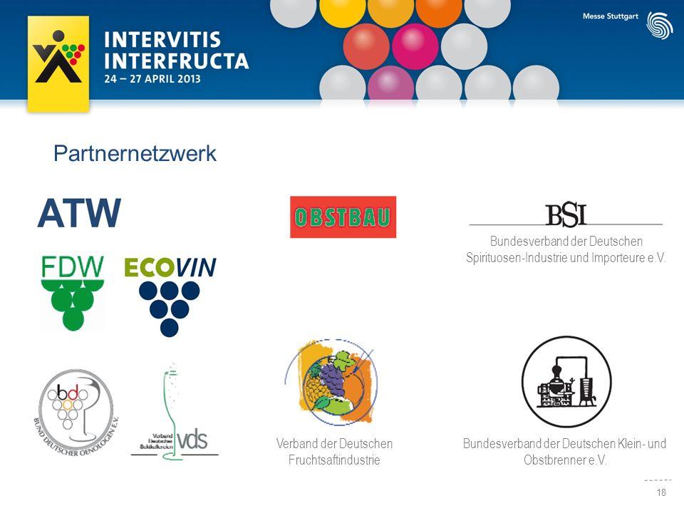 18 Partnernetzwerk Verband der Deutschen Fruchtsaftindustrie Bundesverband der Deutschen Klein- und Obstbrenner e.V. Bundesverband der Deutschen Spiri
