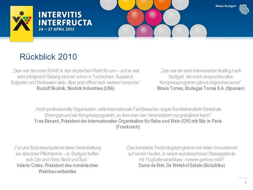 6 Rückblick 2010 Hoch professionelle Organisation, viele internationale Fachbesucher, sogar Bundeskanzlerin Merkel als Ehrengast und ein Kongressprogr