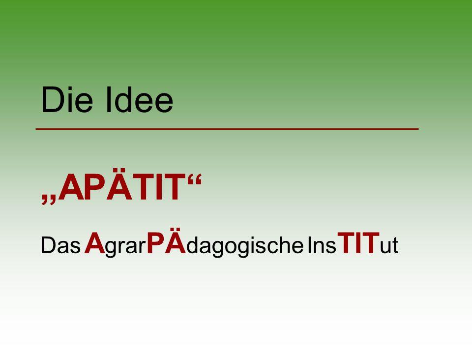 Die Idee APÄTIT Das A grar PÄ dagogische Ins TIT ut