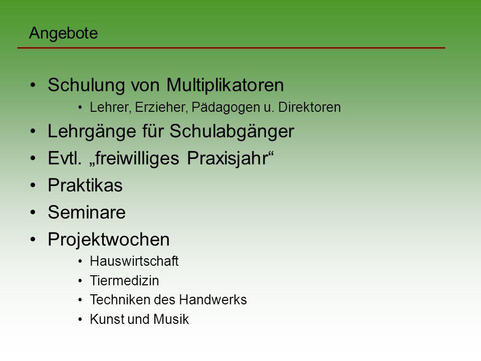 Angebote Schulung von Multiplikatoren Lehrer, Erzieher, Pädagogen u.