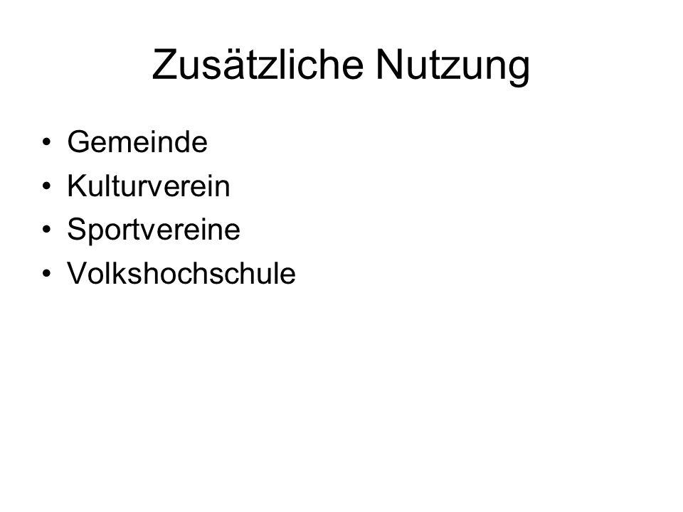 Zusätzliche Nutzung Gemeinde Kulturverein Sportvereine Volkshochschule