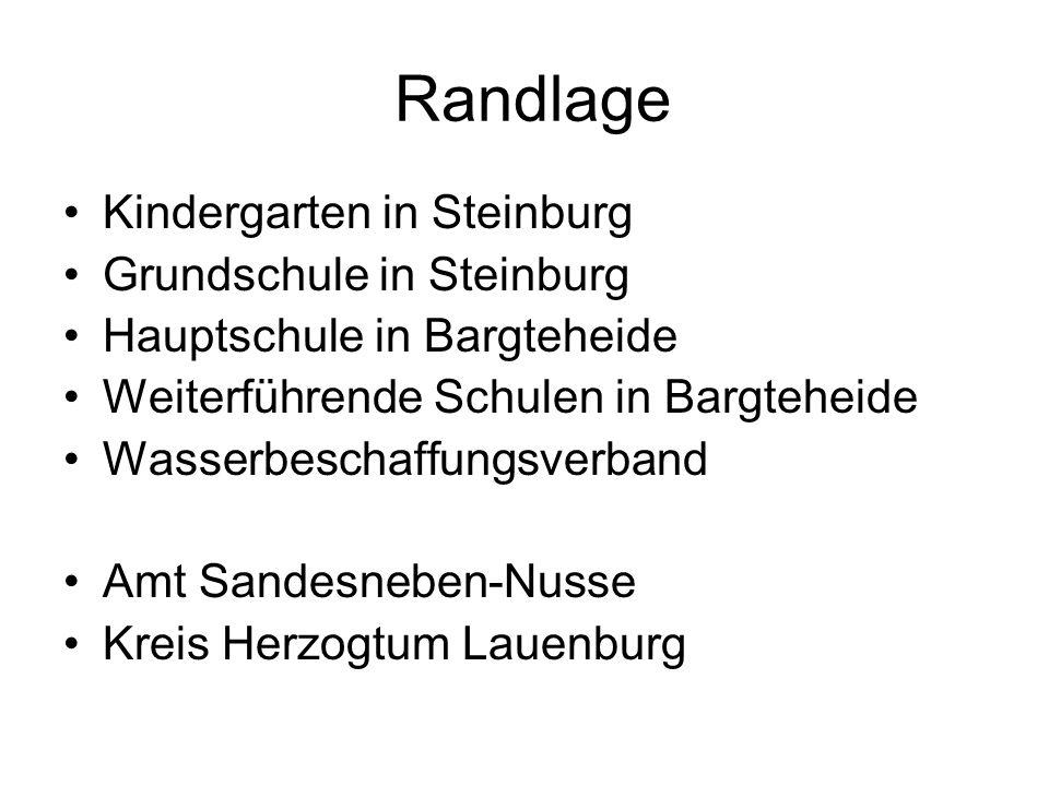 Randlage Kindergarten in Steinburg Grundschule in Steinburg Hauptschule in Bargteheide Weiterführende Schulen in Bargteheide Wasserbeschaffungsverband Amt Sandesneben-Nusse Kreis Herzogtum Lauenburg