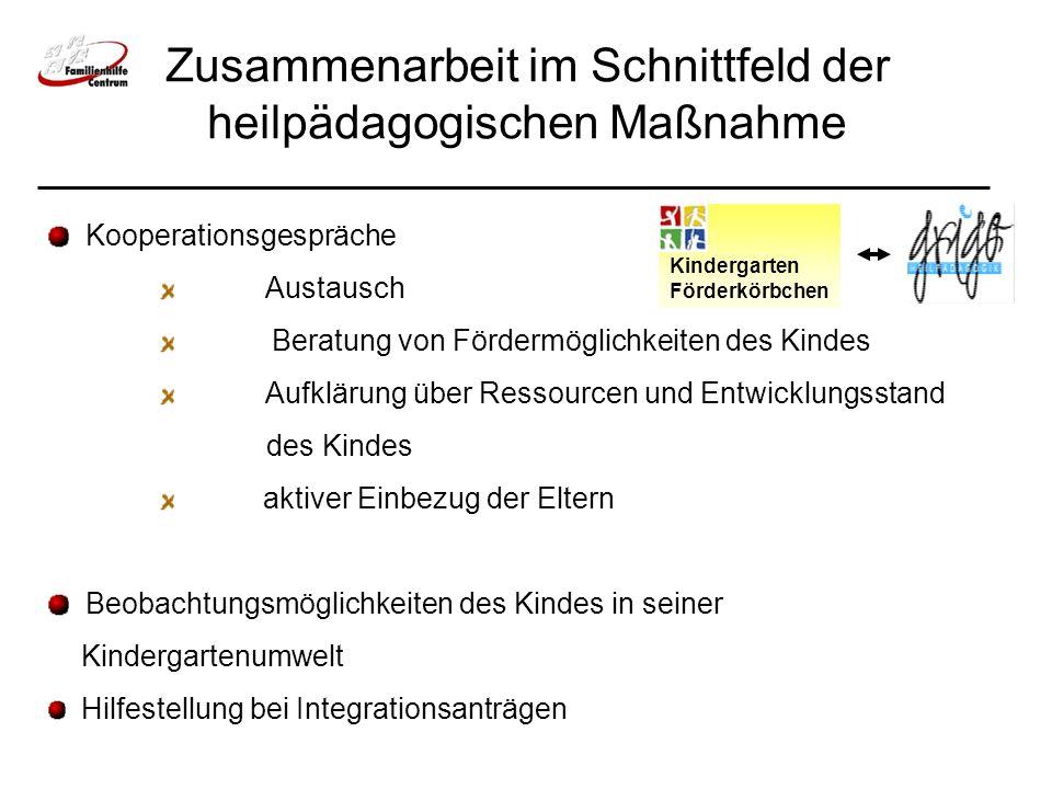 Zusammenarbeit im Schnittfeld der heilpädagogischen Maßnahme Kindergarten Förderkörbchen Kooperationsgespräche Austausch Beratung von Fördermöglichkei