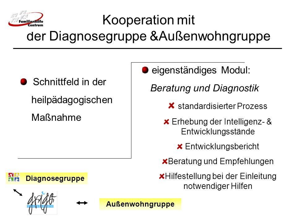 Kooperation mit der Diagnosegruppe &Außenwohngruppe Diagnosegruppe Schnittfeld in der heilpädagogischen Maßnahme eigenständiges Modul: Beratung und Di