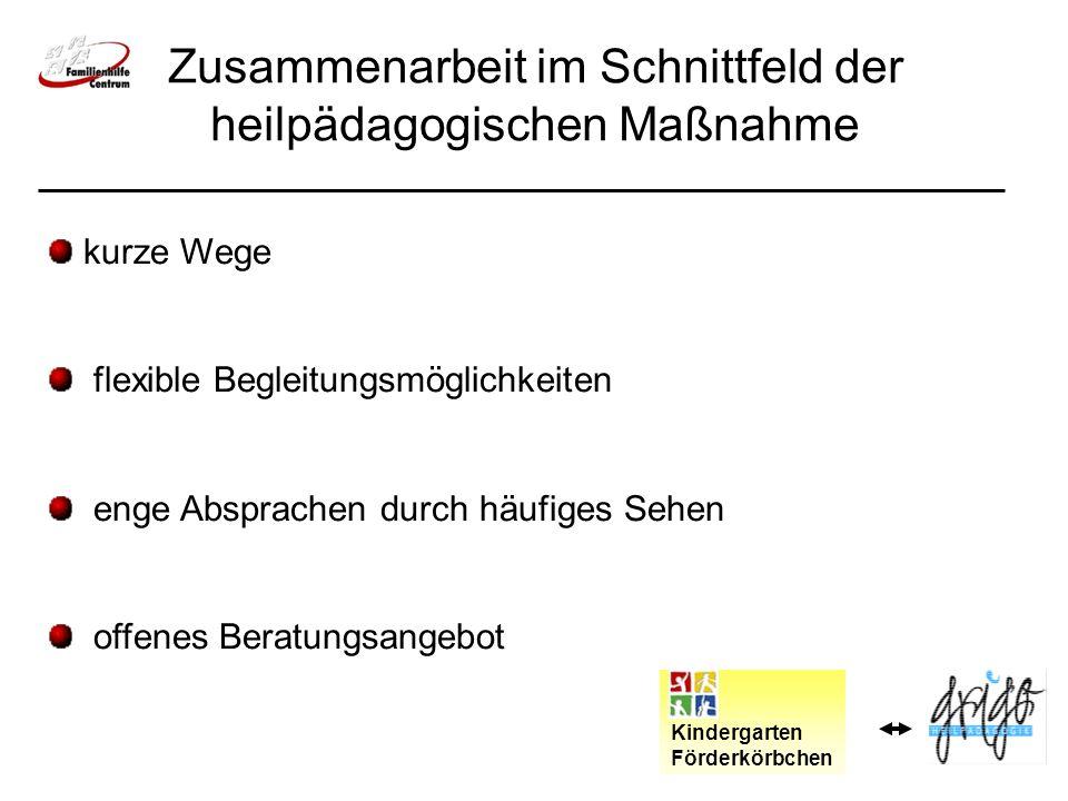 Zusammenarbeit im Schnittfeld der heilpädagogischen Maßnahme Kindergarten Förderkörbchen kurze Wege flexible Begleitungsmöglichkeiten enge Absprachen durch häufiges Sehen offenes Beratungsangebot