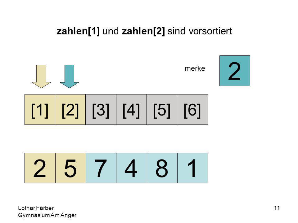 Lothar Färber Gymnasium Am Anger 11 zahlen[1] und zahlen[2] sind vorsortiert 257481 [1][2][3][4][5][6] merke 2