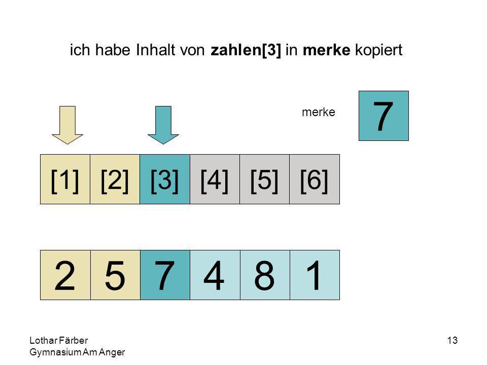 Lothar Färber Gymnasium Am Anger 13 ich habe Inhalt von zahlen[3] in merke kopiert 257481 [1][2][3][4][5][6] merke 7