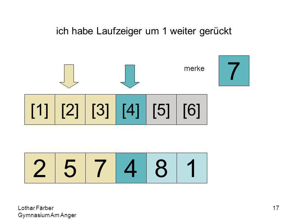 Lothar Färber Gymnasium Am Anger 17 ich habe Laufzeiger um 1 weiter gerückt 257481 [1][2][3][4][5][6] merke 7