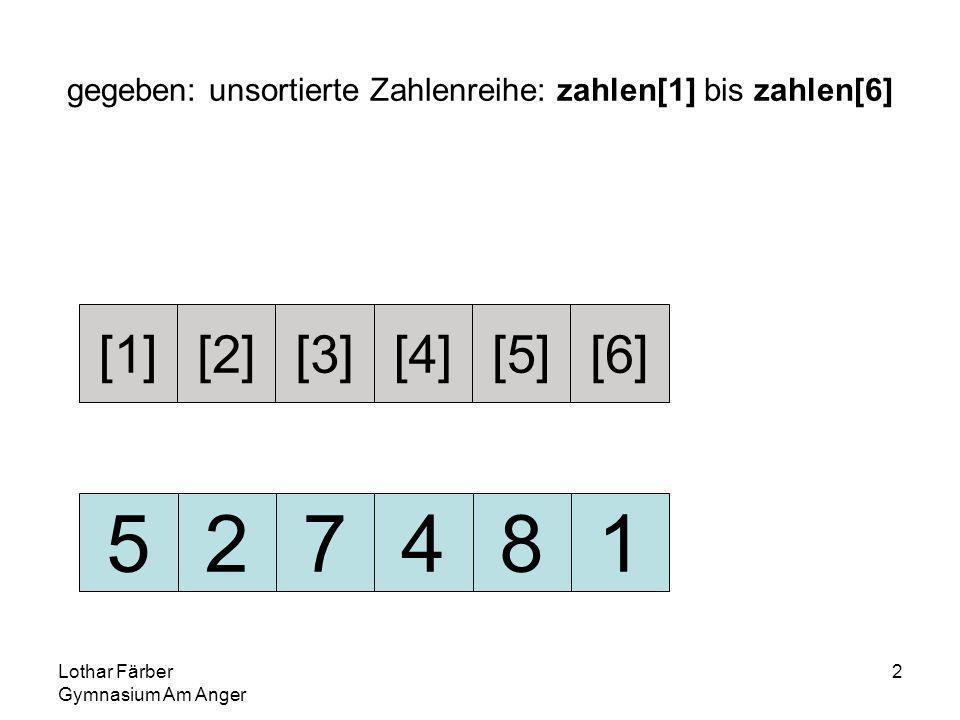 Lothar Färber Gymnasium Am Anger 2 gegeben: unsortierte Zahlenreihe: zahlen[1] bis zahlen[6] 527481 [1][2][3][4][5][6]