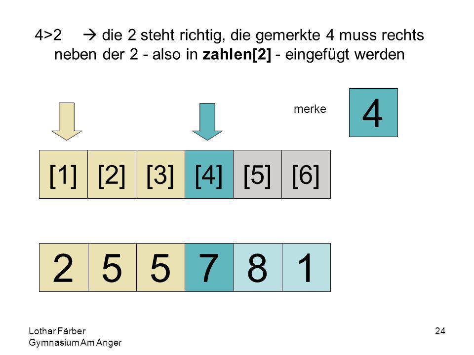Lothar Färber Gymnasium Am Anger 24 4>2 die 2 steht richtig, die gemerkte 4 muss rechts neben der 2 - also in zahlen[2] - eingefügt werden 255781 [1][