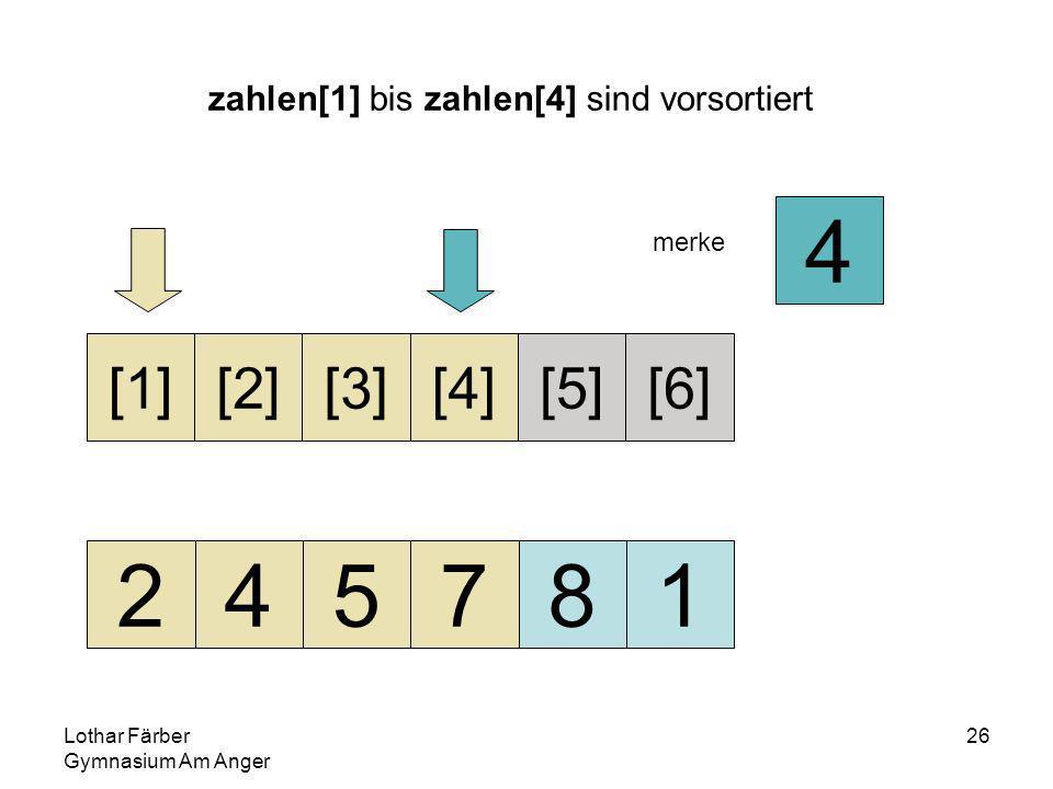 Lothar Färber Gymnasium Am Anger 26 zahlen[1] bis zahlen[4] sind vorsortiert 245781 [1][2][3][4][5][6] merke 4