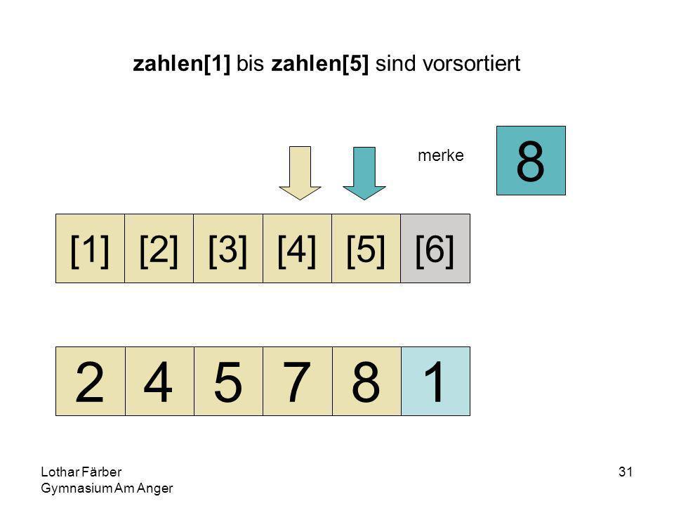 Lothar Färber Gymnasium Am Anger 31 zahlen[1] bis zahlen[5] sind vorsortiert 245781 [1][2][3][4][5][6] merke 8