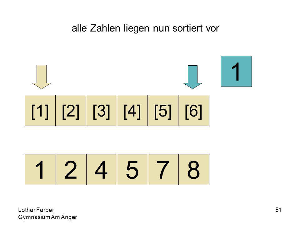 Lothar Färber Gymnasium Am Anger 51 alle Zahlen liegen nun sortiert vor 124578 [1][2][3][4][5][6] 1