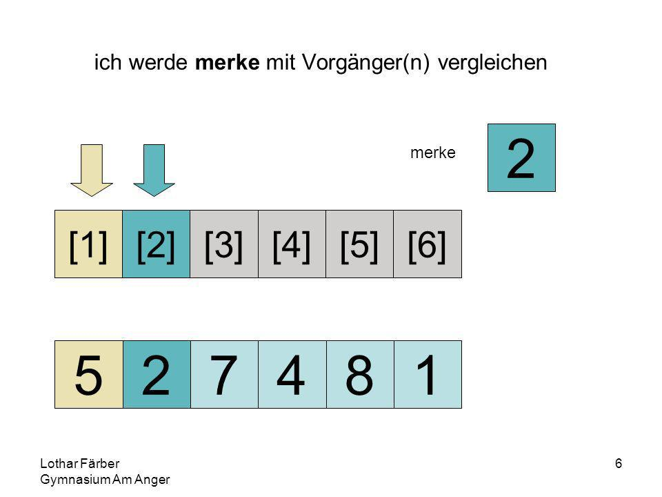 Lothar Färber Gymnasium Am Anger 7 da 2<5 5 muss nach rechts verschoben werden, damit auf seiner alten Position Platz für das mögliche Einfügen der 2 geschaffen wird 527481 [1][2][3][4][5][6] merke 2