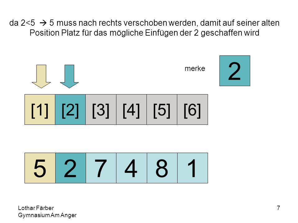 Lothar Färber Gymnasium Am Anger 7 da 2<5 5 muss nach rechts verschoben werden, damit auf seiner alten Position Platz für das mögliche Einfügen der 2