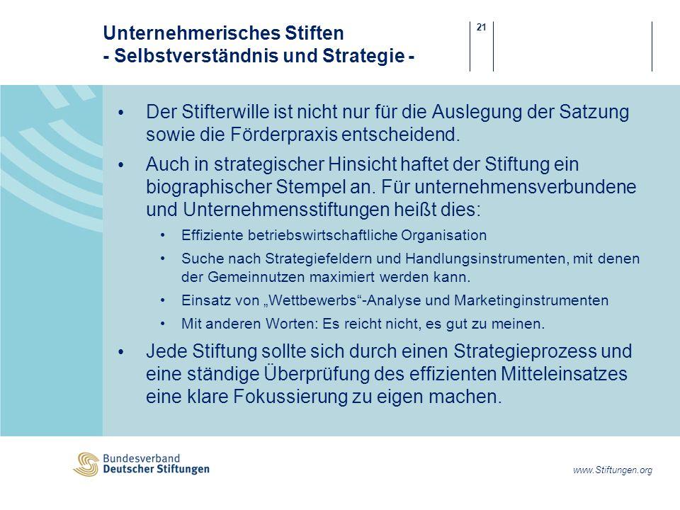 21 www.Stiftungen.org Unternehmerisches Stiften - Selbstverständnis und Strategie - Der Stifterwille ist nicht nur für die Auslegung der Satzung sowie die Förderpraxis entscheidend.