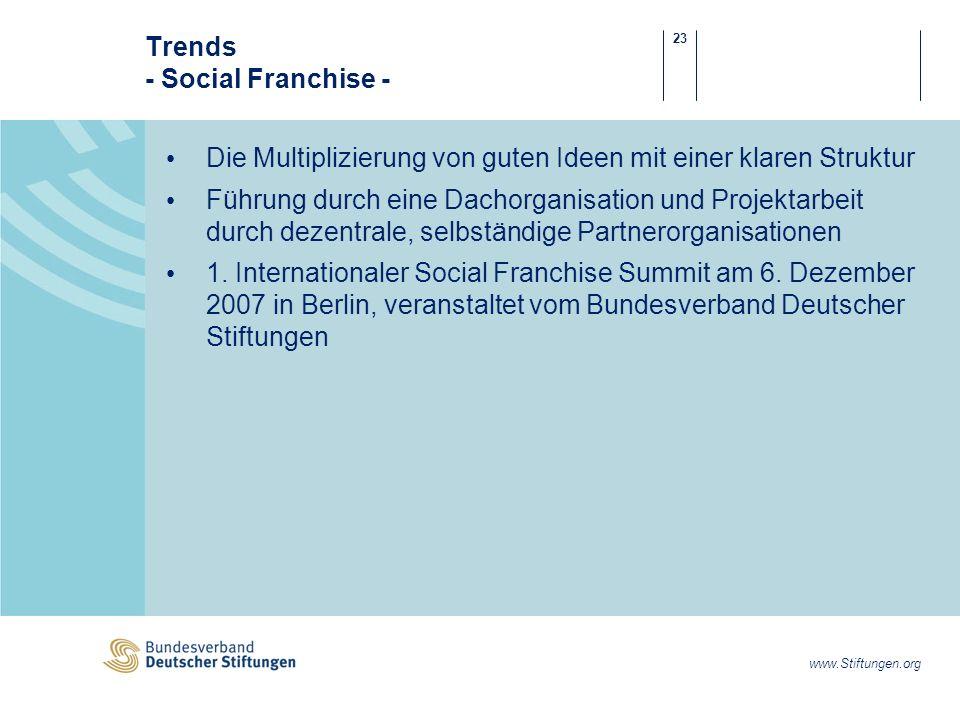 23 www.Stiftungen.org Trends - Social Franchise - Die Multiplizierung von guten Ideen mit einer klaren Struktur Führung durch eine Dachorganisation und Projektarbeit durch dezentrale, selbständige Partnerorganisationen 1.