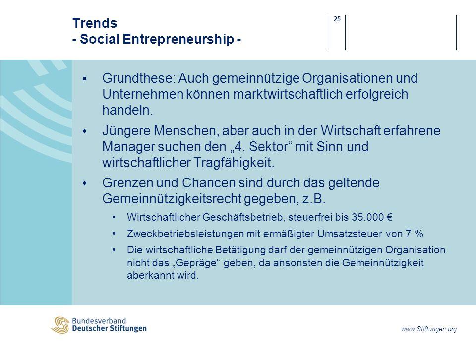 25 www.Stiftungen.org Trends - Social Entrepreneurship - Grundthese: Auch gemeinnützige Organisationen und Unternehmen können marktwirtschaftlich erfolgreich handeln.
