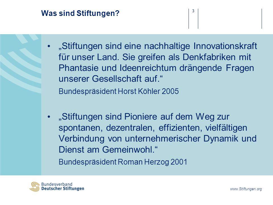 14 www.Stiftungen.org Stiftungen und Unternehmen in Zahlen 50 % aller Stiftungen werden von (ehemaligen) Unternehmern errichtet.