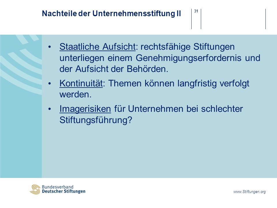31 www.Stiftungen.org Nachteile der Unternehmensstiftung II Staatliche Aufsicht: rechtsfähige Stiftungen unterliegen einem Genehmigungserfordernis und der Aufsicht der Behörden.