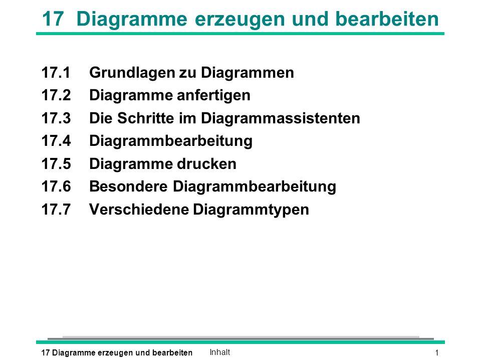 217 Diagramme erzeugen und bearbeitenGrundlagen zu Diagrammen l Diagramm = Visualisierung von Zahlenmaterial