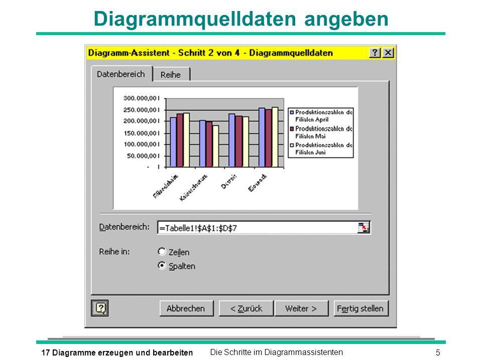 517 Diagramme erzeugen und bearbeitenDie Schritte im Diagrammassistenten Diagrammquelldaten angeben