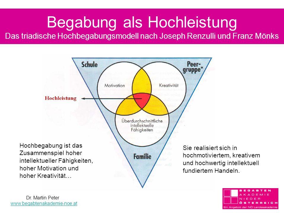 Begabung als Hochleistung Das triadische Hochbegabungsmodell nach Joseph Renzulli und Franz Mönks Sie realisiert sich in hochmotiviertem, kreativem und hochwertig intellektuell fundiertem Handeln.