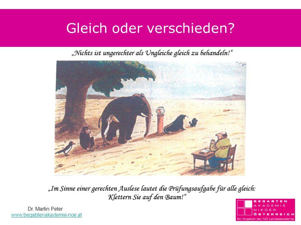 Gleich oder verschieden? Dr. Martin Peter www.begabtenakademie-noe.at