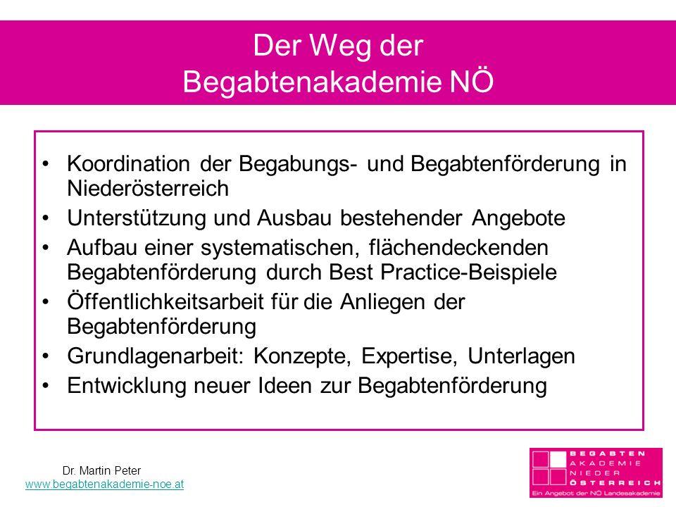 Der Weg der Begabtenakademie NÖ Koordination der Begabungs- und Begabtenförderung in Niederösterreich Unterstützung und Ausbau bestehender Angebote Au