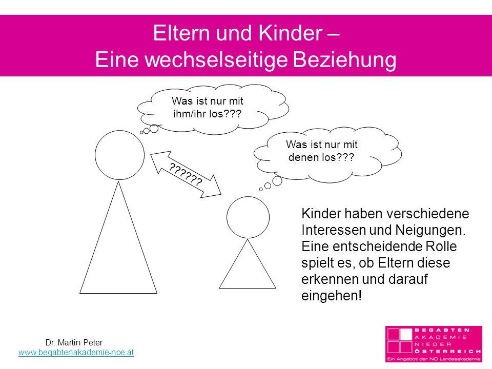 Eltern und Kinder – Eine wechselseitige Beziehung ?????? Kinder haben verschiedene Interessen und Neigungen. Eine entscheidende Rolle spielt es, ob El