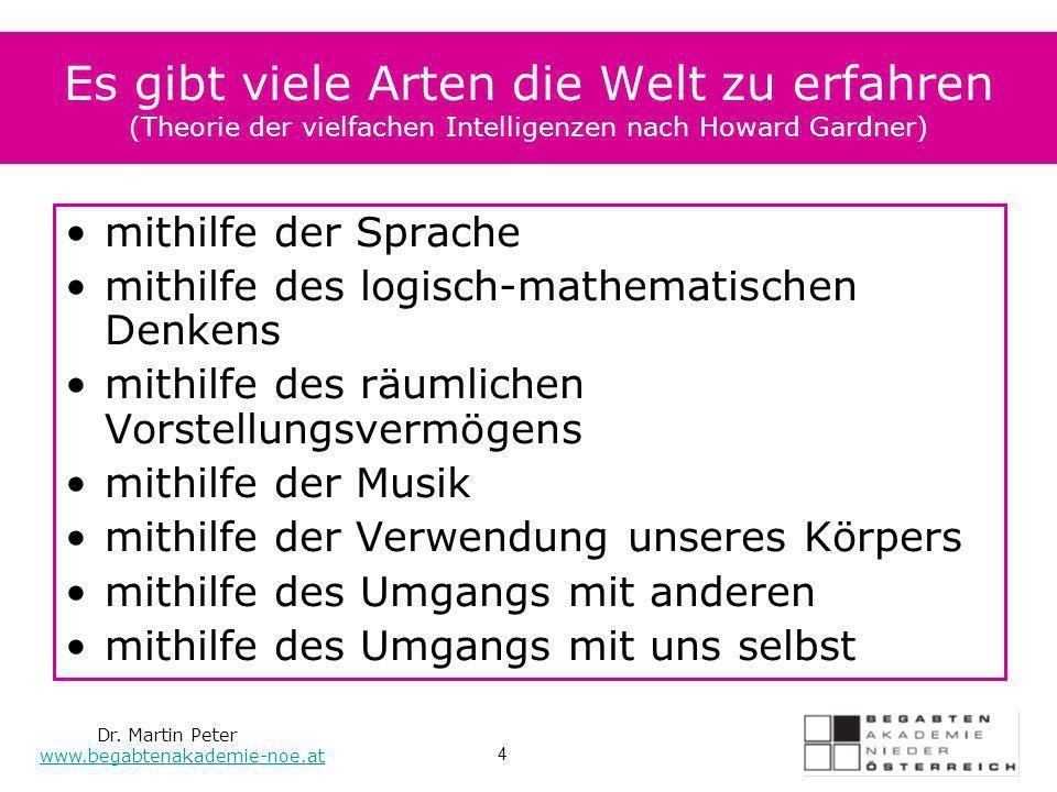 Es gibt viele Arten die Welt zu erfahren (Theorie der vielfachen Intelligenzen nach Howard Gardner) mithilfe der Sprache mithilfe des logisch-mathemat