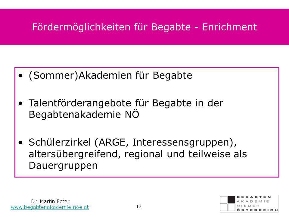 Dr. Martin Peter www.begabtenakademie-noe.at 13 Fördermöglichkeiten für Begabte - Enrichment (Sommer)Akademien für Begabte Talentförderangebote für Be