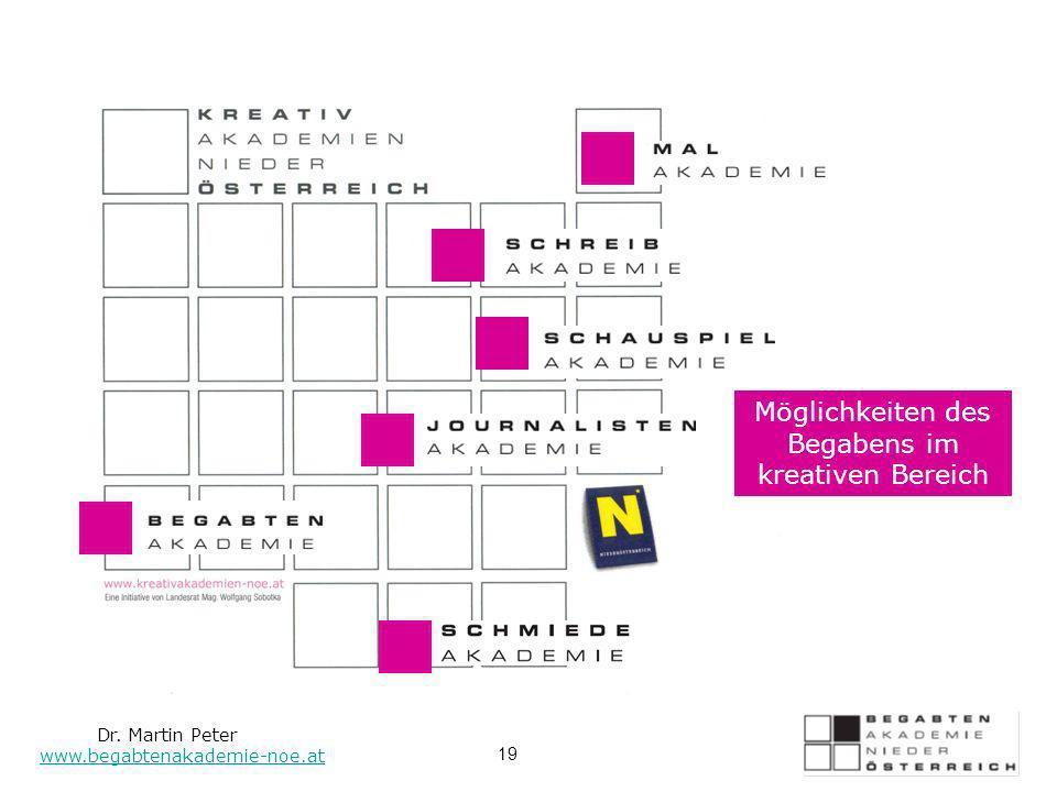 Möglichkeiten des Begabens im kreativen Bereich Dr. Martin Peter www.begabtenakademie-noe.at 19