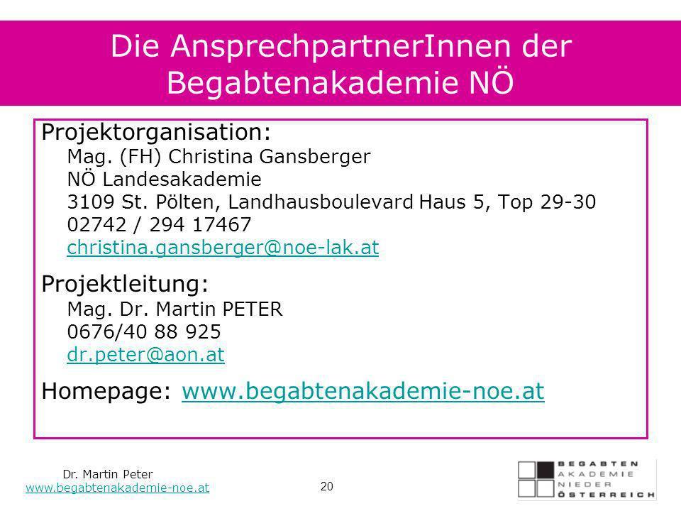 Die AnsprechpartnerInnen der Begabtenakademie NÖ Projektorganisation: Mag. (FH) Christina Gansberger NÖ Landesakademie 3109 St. Pölten, Landhausboulev