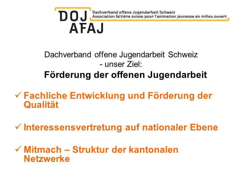 Dachverband offene Jugendarbeit Schweiz - unser Ziel: Förderung der offenen Jugendarbeit Fachliche Entwicklung und Förderung der Qualität Interessensv