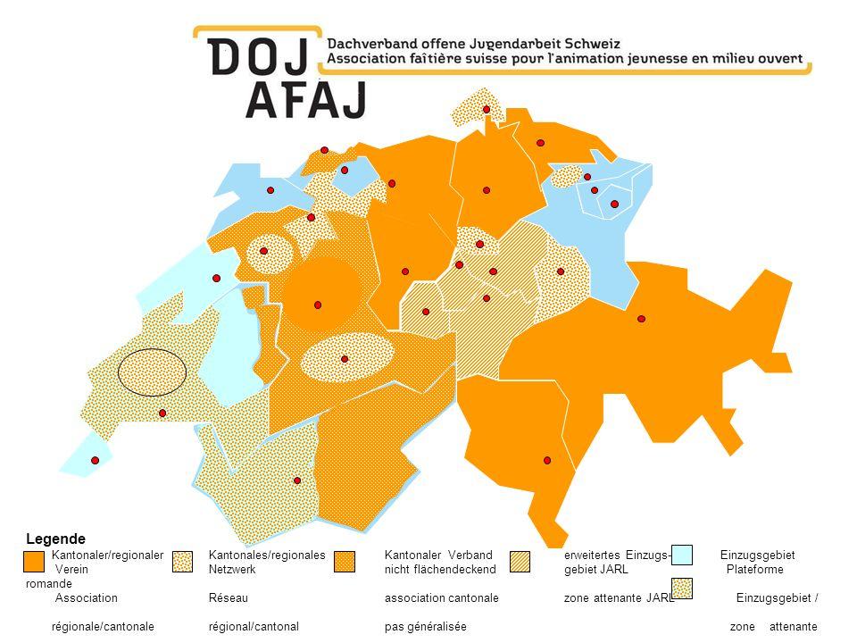 Legende Kantonaler/regionaler Kantonales/regionalesKantonaler Verbanderweitertes Einzugs- Einzugsgebiet Verein Netzwerk nicht flächendeckendgebiet JAR