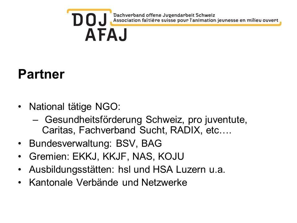 Partner National tätige NGO: – Gesundheitsförderung Schweiz, pro juventute, Caritas, Fachverband Sucht, RADIX, etc…. Bundesverwaltung: BSV, BAG Gremie