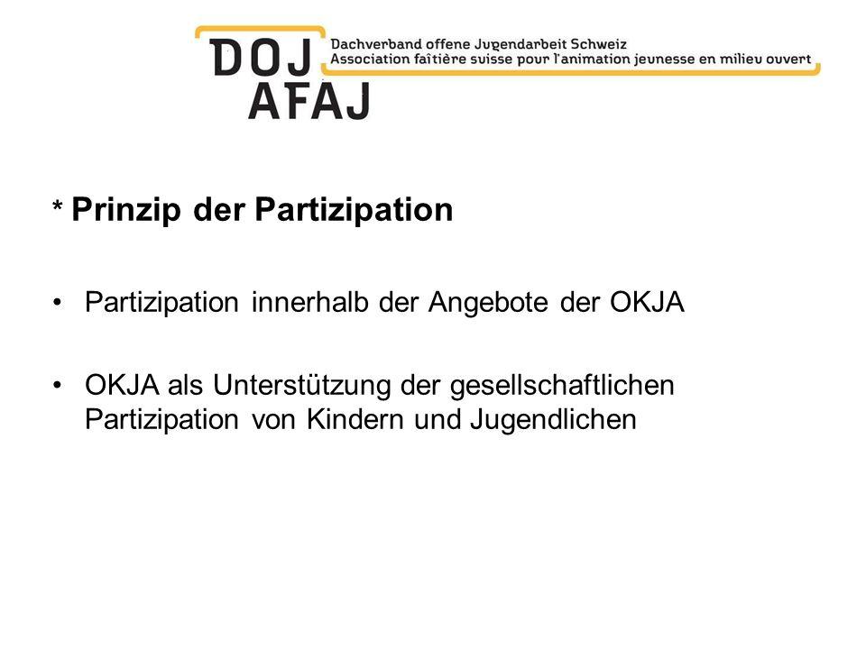 * Prinzip der Partizipation Partizipation innerhalb der Angebote der OKJA OKJA als Unterstützung der gesellschaftlichen Partizipation von Kindern und