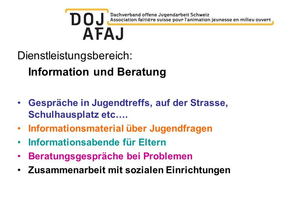 Dienstleistungsbereich: Information und Beratung Gespräche in Jugendtreffs, auf der Strasse, Schulhausplatz etc…. Informationsmaterial über Jugendfrag