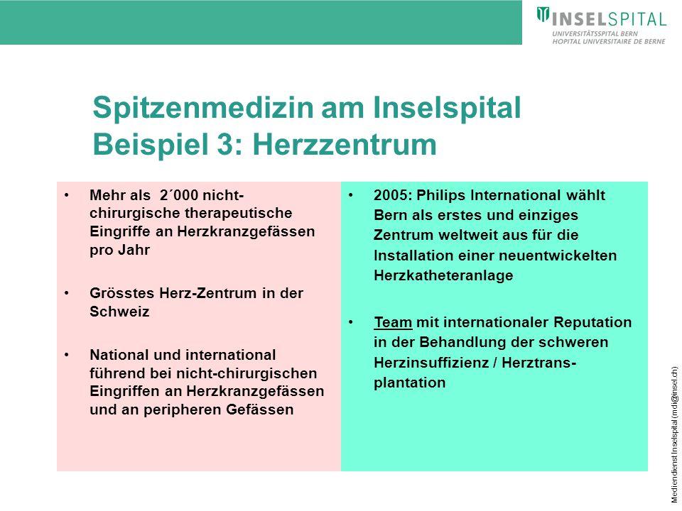 Mediendienst Inselspital (mdi@insel.ch) Spitzenmedizin am Inselspital Beispiel 3: Herzzentrum Mehr als 2´000 nicht- chirurgische therapeutische Eingri