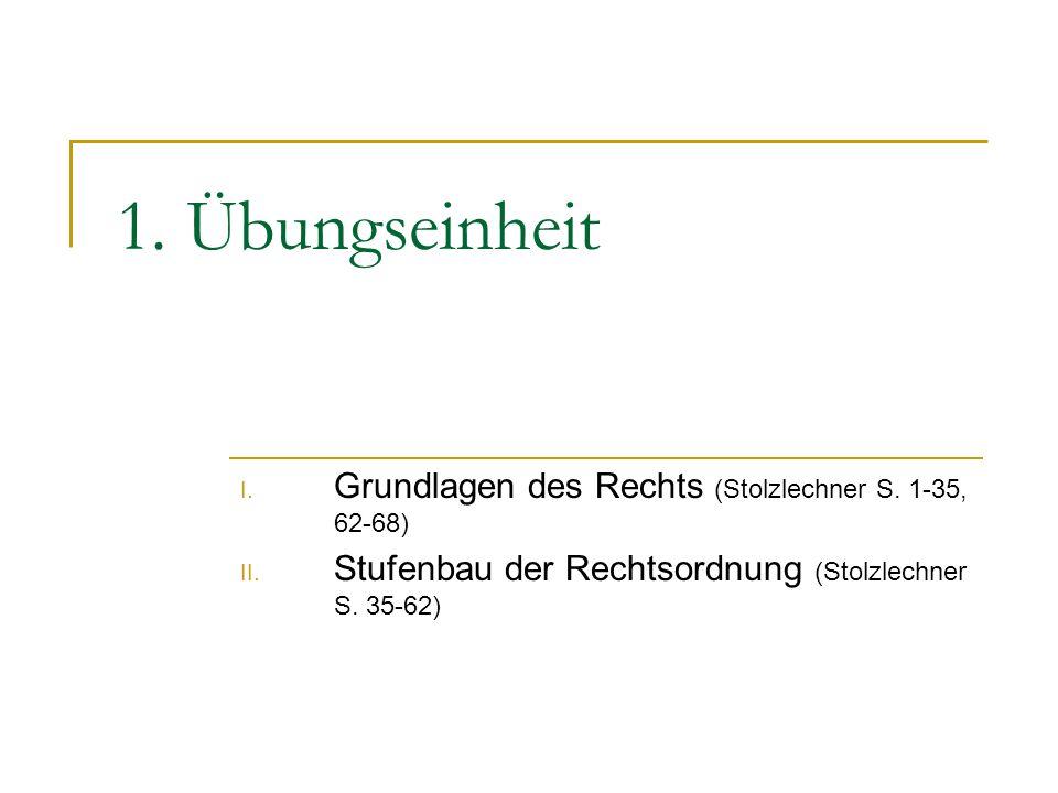 1. Übungseinheit I. Grundlagen des Rechts (Stolzlechner S. 1-35, 62-68) II. Stufenbau der Rechtsordnung (Stolzlechner S. 35-62)