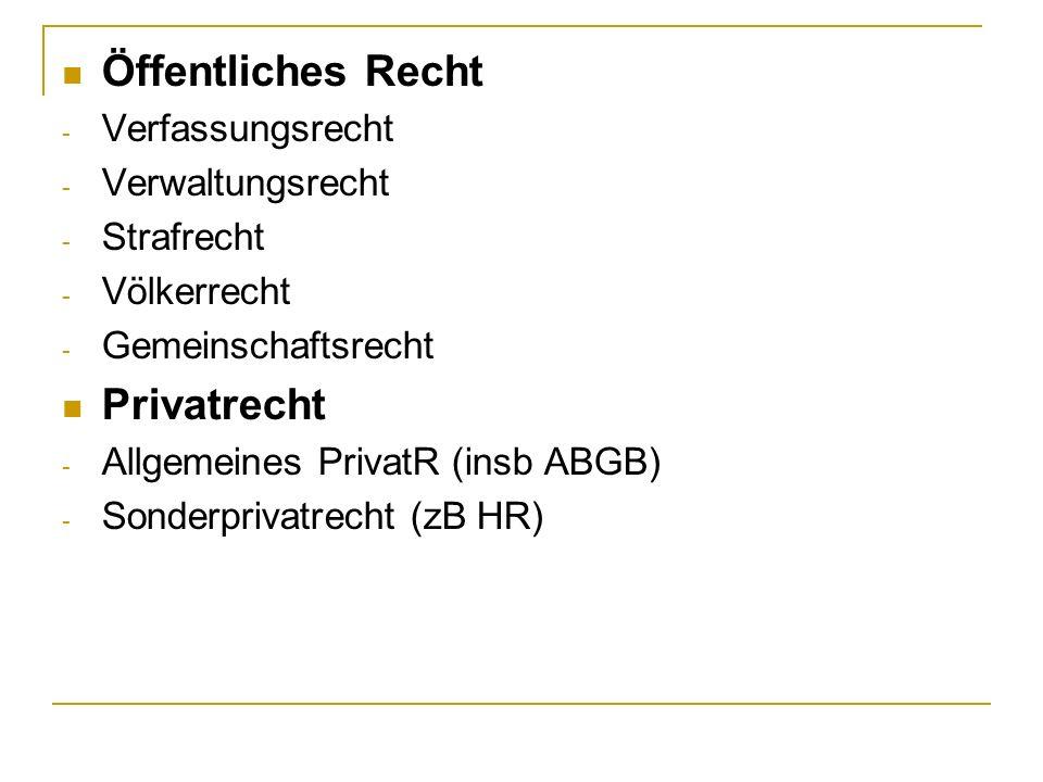 Öffentliches Recht - Verfassungsrecht - Verwaltungsrecht - Strafrecht - Völkerrecht - Gemeinschaftsrecht Privatrecht - Allgemeines PrivatR (insb ABGB) - Sonderprivatrecht (zB HR)