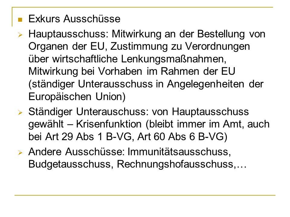 Exkurs Ausschüsse Hauptausschuss: Mitwirkung an der Bestellung von Organen der EU, Zustimmung zu Verordnungen über wirtschaftliche Lenkungsmaßnahmen,